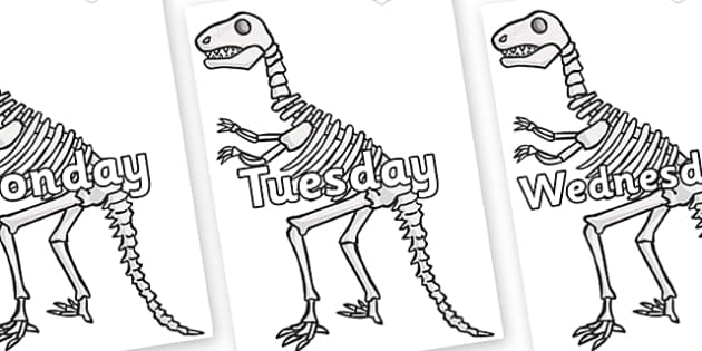 Days of the Week on Dinosaur Skeletons - Days of the Week, Weeks poster, week, display, poster, frieze, Days, Day, Monday, Tuesday, Wednesday, Thursday, Friday, Saturday, Sunday