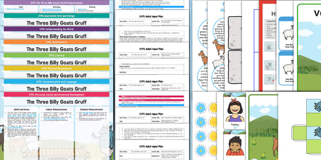 EYFS The Three Billy Goats Gruff Bumper Planning Pack - The Three Billy Goats Gruff, traditional tales, eyfs, early years planning, adult led