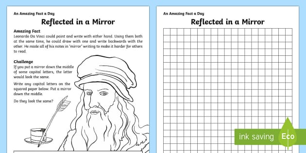 Reflected in a Mirror Activity Sheet