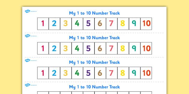 Worksheets 1 To 10 Numbers numbers 1 10 numbertrack maths math number track n 10