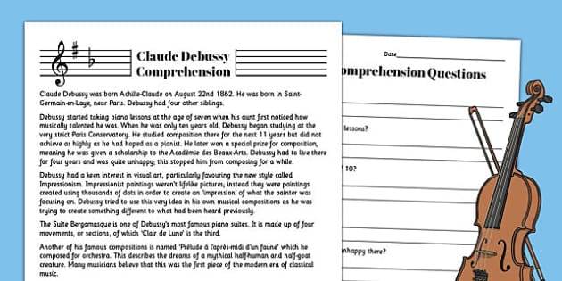 Claude Debussy Reading Comprehension Activity - claude, debussy, sheet