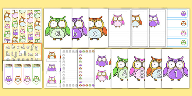 Cute Owl Rainbow Themed Classroom Display and Stationery Pack - cute owl, rainbow, classroom display, stationary