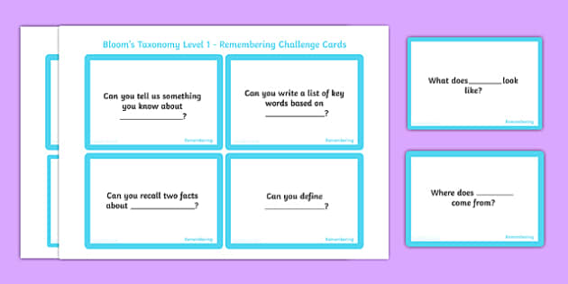 Bloom's Taxonomy Level 1 Remembering Challenge Cards - blooms