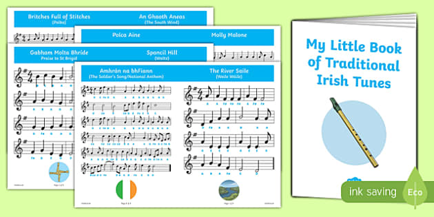 Traditional Tin Whistle Tunes Music Booklet