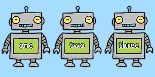 Number Words One to Twenty on Robots - number, words, one, twenty, robots