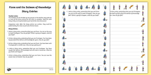 Fionn and the Salmon Of Knowledge Diary Entries Activity Sheets - Irish history, Irish story, Irish myth, Irish legends, Fionn and the Salmon of Knowledge, diary entries, writing, worksheet