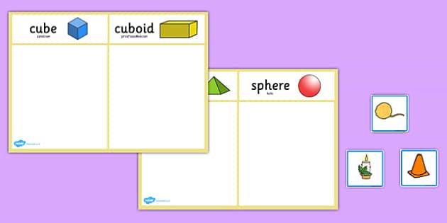 3D Shape Sorting Activity Polish Translation - polish, 3d shape, sorting, activity, 3d, shape