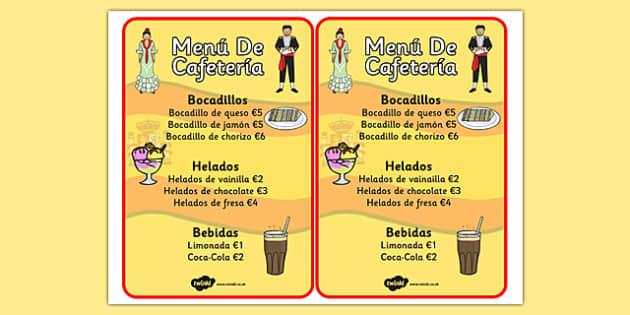 Carta de juego de rol de cafetería - menú, carta, cafetería