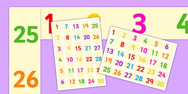 Numbers 1-30 A3 Display Borders - numbers, 0-30, a3, display borders, display, borders