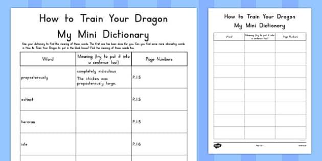 How to Train Your Dragon Mini Dictionary Activity - australia