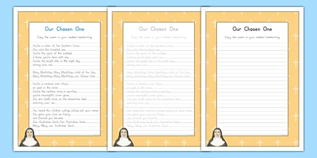 Saint Mary MacKillop Our Chosen One Handwriting Practice Activity Sheet-Australia, worksheet