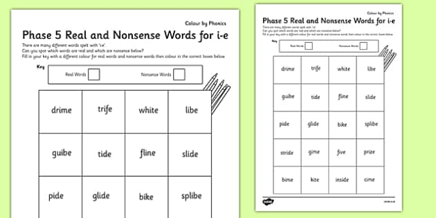 Phase 5 'i-e' Split Digraph Colour by Phoneme Real and Nonsense Words