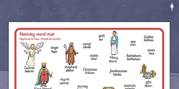 Nativity Word Mat Romanian Translation - romanian, nativity, word mat, christmas, word, mat