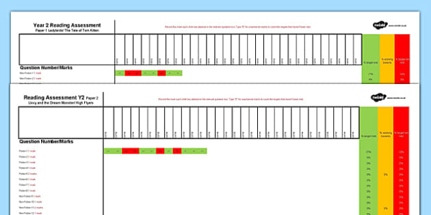 Y2 Reading Assessment Spreadsheet Term 1 - formative, summative, diagnostic