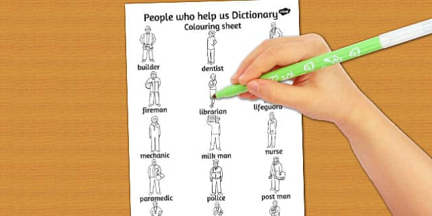 People Who Help Us Dictionary Colouring Sheet - colouring, sheet