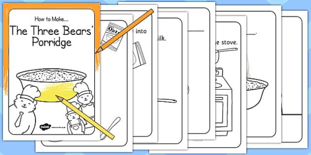 The Three Bears Porridge Recipe Cards Missing Words - recipe