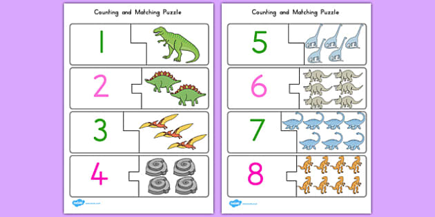 Dinosaur Themed Counting Matching Puzzle - australia, dinosaur