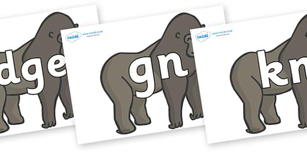 Silent Letters on Gorillas - Silent Letters, silent letter, letter blend, consonant, consonants, digraph, trigraph, A-Z letters, literacy, alphabet, letters, alternative sounds
