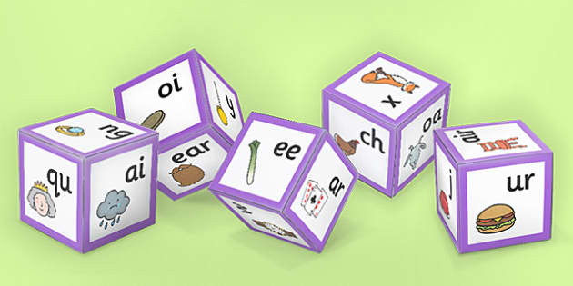 Phase 3 Phoneme Sounds with Images Dice Nets - activity, activities, game, games