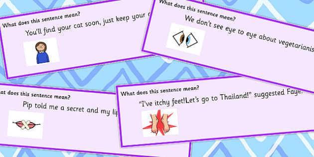Body Idiom Sentences Set 3 - idioms, body, sentences, set 3