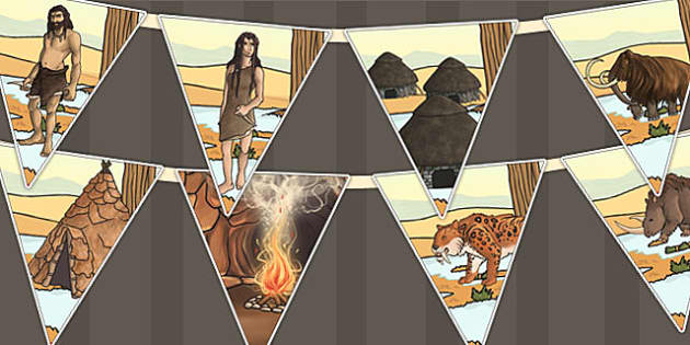 Stone Age Bunting - stone age, bunting, display, flags, history