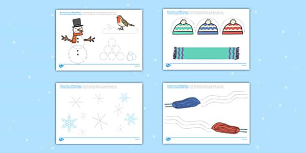 Winter Pencil Control Worksheets Polish Translation - polish, winter, pencil control, worksheets, pencil, control