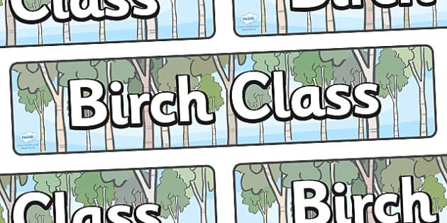Birch Class Display Banner - Birch class, tree, class banner, class display, classroom banner, classroom areas signs, areas, display banner, display