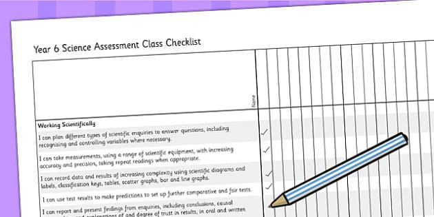 2014 Curriculum Year 6 Science Assessment Class Checklist - target