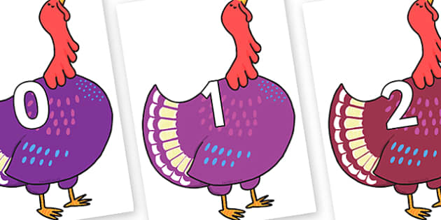 Numbers 0-50 on Hullabaloo Turkey to Support Teaching on Farmyard Hullabaloo - 0-50, foundation stage numeracy, Number recognition, Number flashcards, counting, number frieze, Display numbers, number posters
