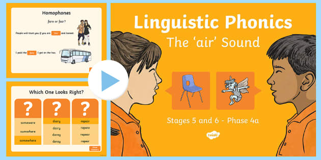 Northern Ireland Linguistic Phonics Stage 5 and 6 Phase 4a, 'air' Sound PowerPoint - Linguistic Phonics, Stage 5, Stage 6, Phase 4a, Northern Ireland, 'air' sound, sound search, wor