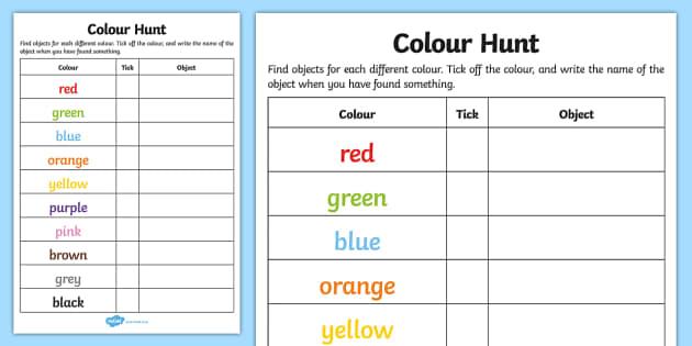 Colour Hunt Checklist - colour hunt checklist, colour, hunt, checklist