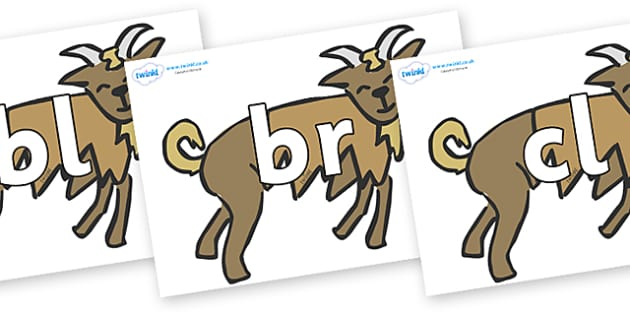 Initial Letter Blends on Billy Goats Gruff - Initial Letters, initial letter, letter blend, letter blends, consonant, consonants, digraph, trigraph, literacy, alphabet, letters, foundation stage literacy