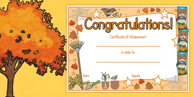 Autumn Certificates - rewards, awards, seasons, weather, fall
