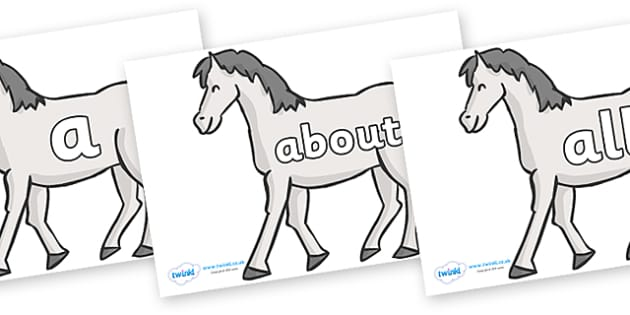 100 High Frequency Words on Horses - High frequency words, hfw, DfES Letters and Sounds, Letters and Sounds, display words