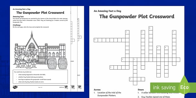 The Gunpowder Plot Crossword