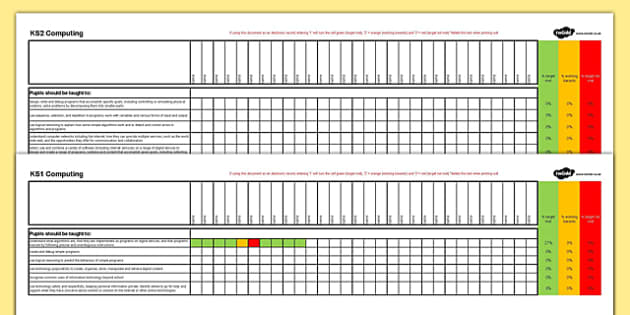 KS1 and KS2 Computing Assessment Spreadsheet - ks1, ks2, computing, assessment spreadsheet