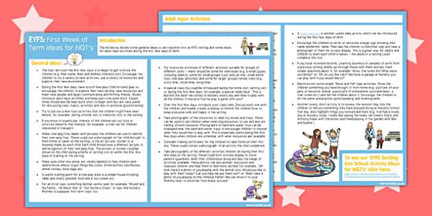 EYFS First Week of Term Ideas for NQTs - eyfs, first week, term, nqt