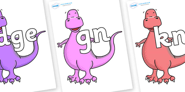 Silent Letters on Tyrannosaurus - Silent Letters, silent letter, letter blend, consonant, consonants, digraph, trigraph, A-Z letters, literacy, alphabet, letters, alternative sounds