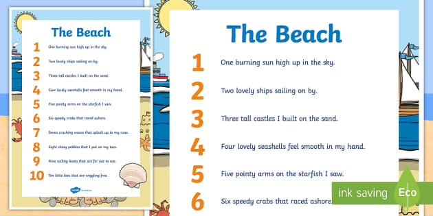 The Beach Mathematics Counting Display Poster - Mathematics Rhyming Songsmathematicsrhymes rhymingsongbeach,Australia