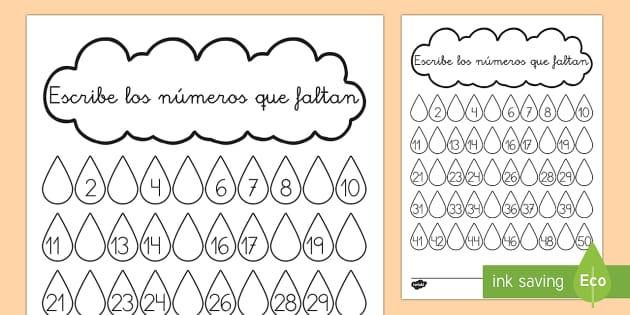 Ficha de escribir números - Gotas de llúvia