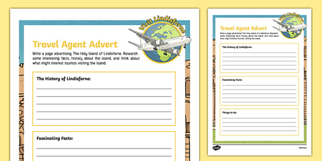 Lindisfarne Travel Agent Writing Activity Sheet , worksheet