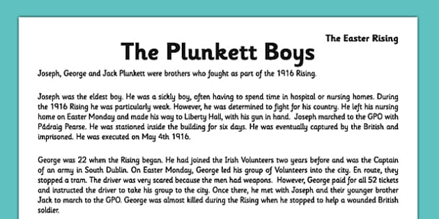Irish History 1916 Rising The Plunkett Boys Comprehension Activity Sheet - irish history, 1916 rising, easter rising, comprehension, ireland, worksheet