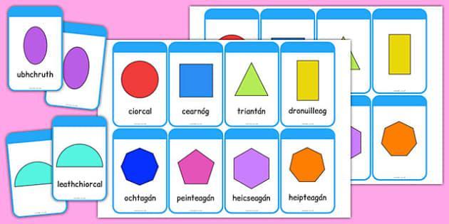2D Shape Cards Gaeilge - gaeilge, roi, 2d shape, cards, activity, shape, 2d, maths, numeracy
