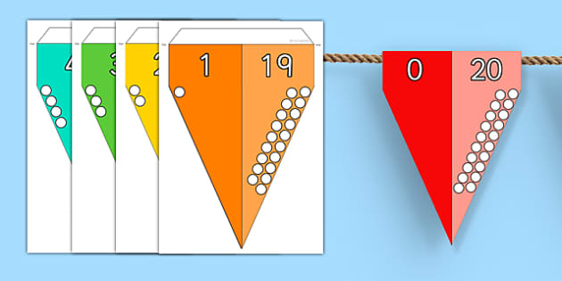 Number Bonds to 20 Bunting - number bonds, 20, bunting, display