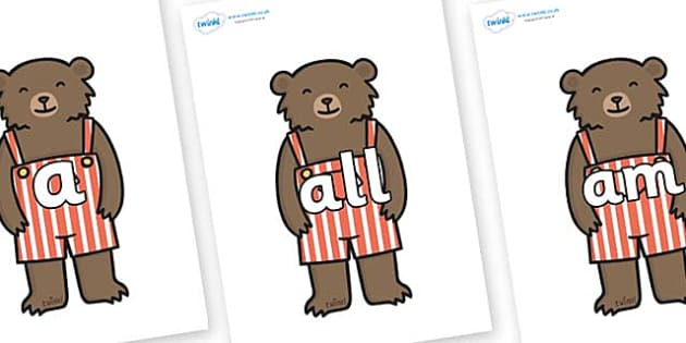 Foundation Stage 2 Keywords on Little Bear - FS2, CLL, keywords, Communication language and literacy,  Display, Key words, high frequency words, foundation stage literacy, DfES Letters and Sounds, Letters and Sounds, spelling