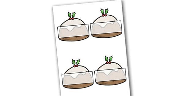 Self Registration Christmas Puddings Editable  - christmas, label
