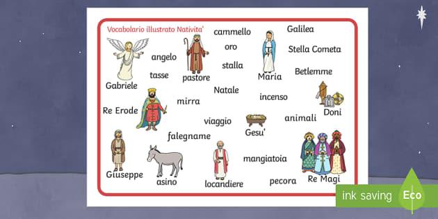 Nativity Word Mat English/Italian - Nativity Word Mat - Nativity, Christmas, xmas, Word mat, writing aid, Mary, Joseph, Jesus, shepherd, - Nativita\', vocabolario illustrato, parole, natale, gesu, maria, giuseppe, buone feste, feste, nat