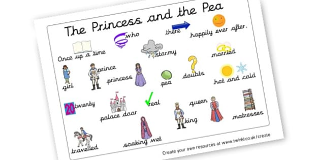 The Princess and the Pea - Word Mat - The Princess and the Pea Primary Resources, Hans Christian Andersen