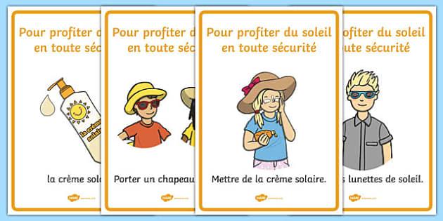 Pour profiter du soleil en toute sécurité - french, Sun safety, Sun, Summer, sunburn, Display Words, display, summer, fun in the Sun, Sun danger, sun hat , sunglasses