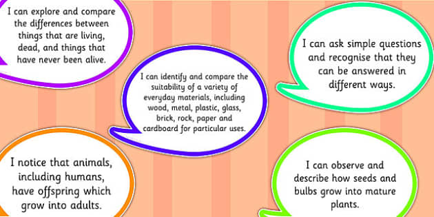 2014 Curriculum Year 2 Science Assessment I Can Speech Bubbles